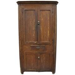 Antique Primitive Rustic Brown Distressed Painted Corner Cupboard Cabinet