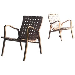 Pair of Stunning Leather Strap Lounge Chairs by Gustav Axel Berg