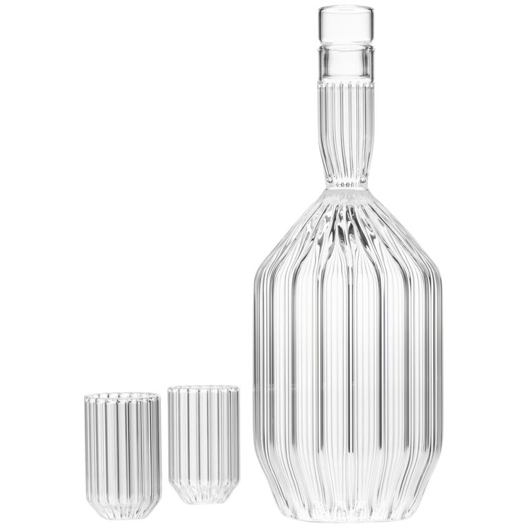 Czech Clear Contemporary Fluted Decanter and Two Liqueur Shot Glass Set in Stock For Sale
