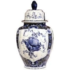 Mid-Century Dutch Hand-Painted Blue and White Faience Delft Ginger Jar with Lid