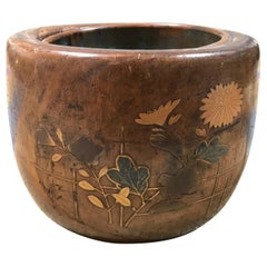 Japanese Wooden and Gilt Lacquer Bowl Lined in Copper