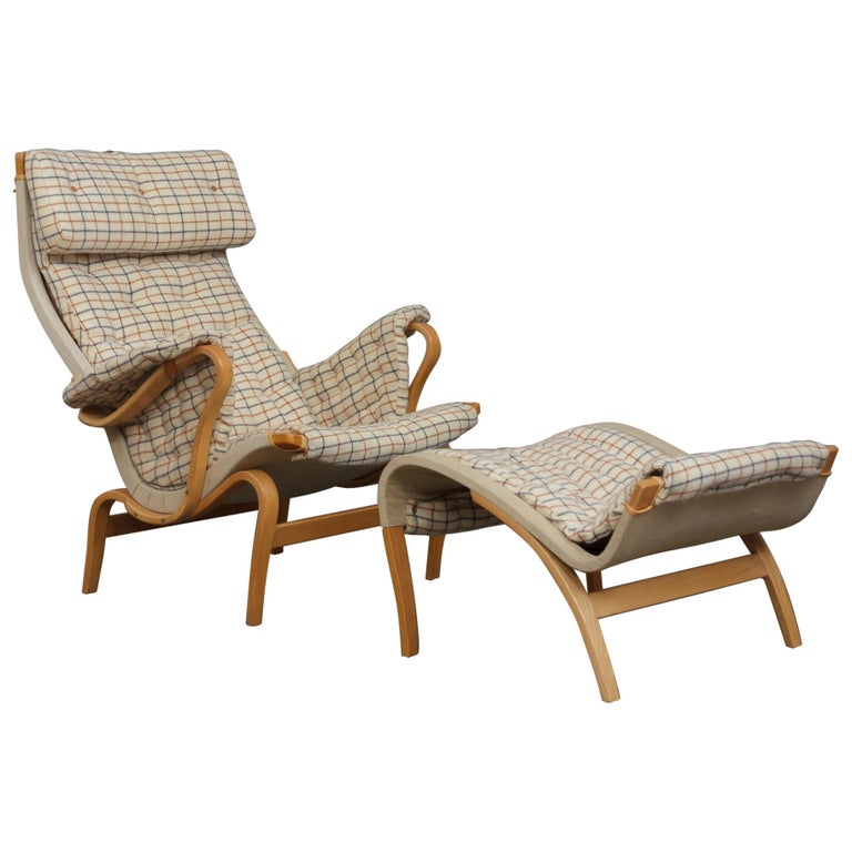 Bruno Mathsson Pernilla Lounge Chair with Footstool