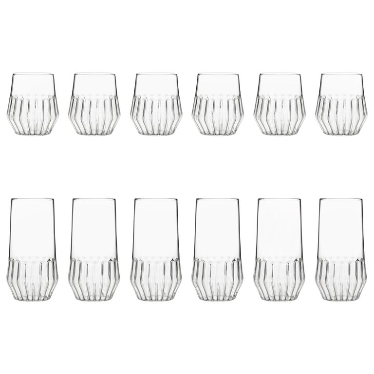Czech Contemporary Mixed Collection Six Medium and Six Large Glass Set in Stock