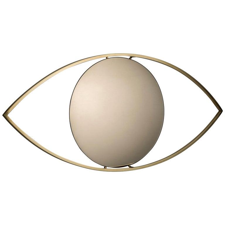 Alma Brass Bronzed Mirror For Sale