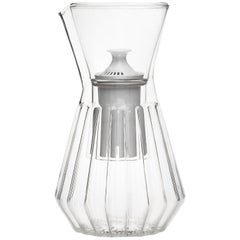 Contemporary Czech Fluted Talise Glass Water Filter Carafe Pitcher, in Stock