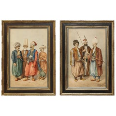 Magnificent Pair of Turkish Ottoman Watercolors of Sultans by Hossein