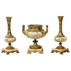 French Ormolu-Mounted Sevres Style Porcelain, Champleve Enamel & Onyx Garniture