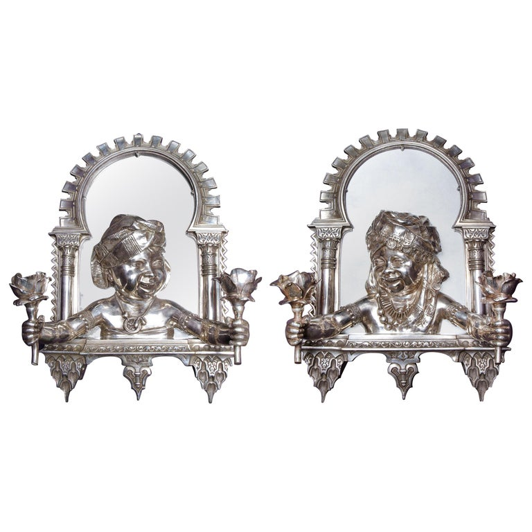 """Pair of French Orientalist """"Alhambra"""" Bronze Two-Light Wall Appliqués Sconces"""