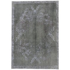 Overdyed Distressed Vintage Turkish Rug with Modern Style, High and Low Texture