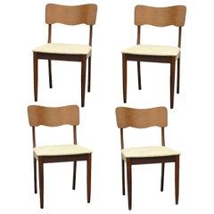 Set of Four Gustav Bahus Midcentury Danish Modern Teak Ribbon Dining Chairs