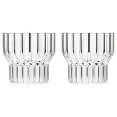 Set of Two Czech Clear Contemporary Fluted Boyd Small Low Glasses, in Stock