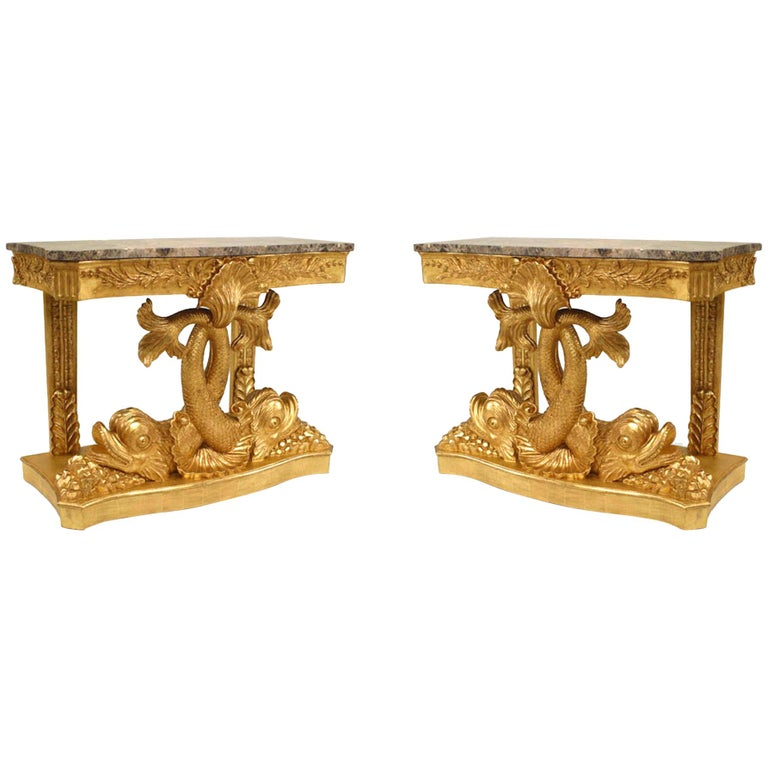 Pair of English Regency Style Gilt Console Tables