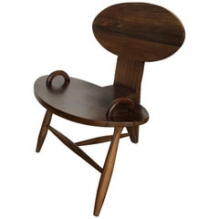Contemporary Rustic Mexican Tripod Chair in Parota Wood