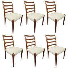 Set of Six Danish Model 85 Teak Dining Chairs by Niels Møller