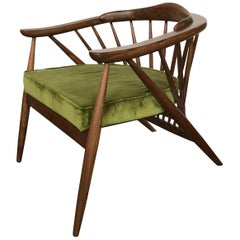 Contemporary Mexican Fan Armchair in Nogal Wood