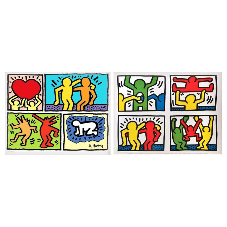 Pair of Lithographs after Keith Haring -- one numbered For Sale