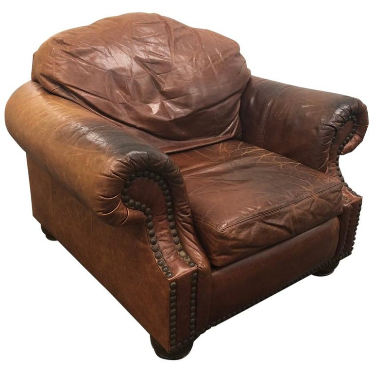 Antique English Leather Club Chair