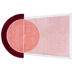 """Court Series"" Key 2 Rug by Pieces, Modern Hand-Tufted Pink Red Colorful Carpet"