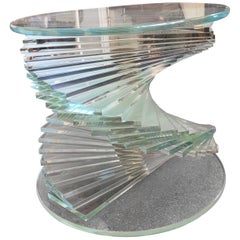 Helix Spiral Lucite Side Table