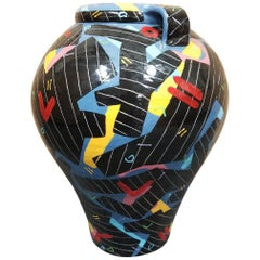 Large Memphis Style Hand-Painted Terracotta Vase by Donoghue