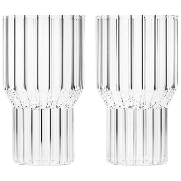 Set of Two Czech Clear Contemporary Fluted Boyd Large Highball Glasses, in Stock