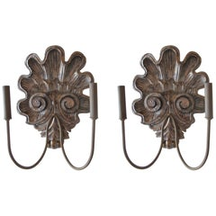 Pair of Hand-Carved Shell Sconces