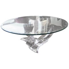 Lucite Abstract Base Coffee Table with Glass Top