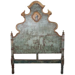 19th Century Spanish Painted and Parcel-Gilt Headboard