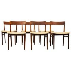 Henri Rosengren Solid Teak Dining Chairs, Set of Six
