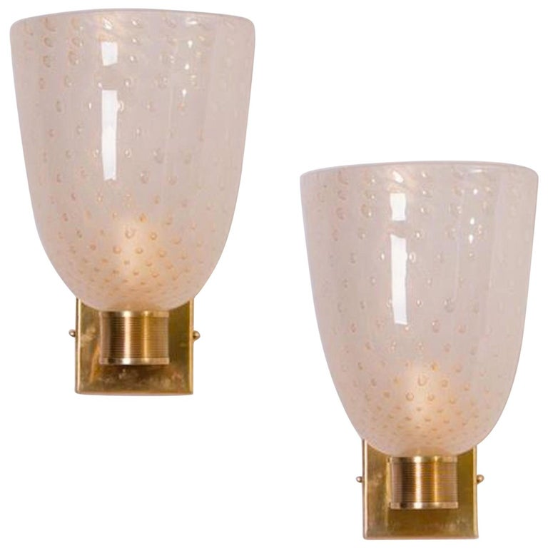 Modernist Pair of Brass Mounted Murano Glass Sconces