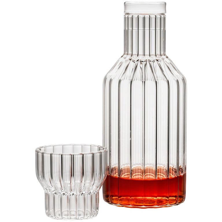 Czech Clear Contemporary Fluted Glass Boyd Bedside Carafe with Glass, in Stock For Sale