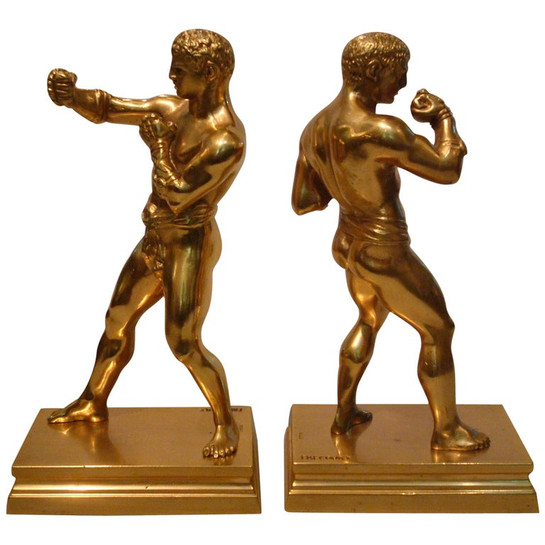 Greco Roman Fighters Gilt Bronze Bookends, France, 1920