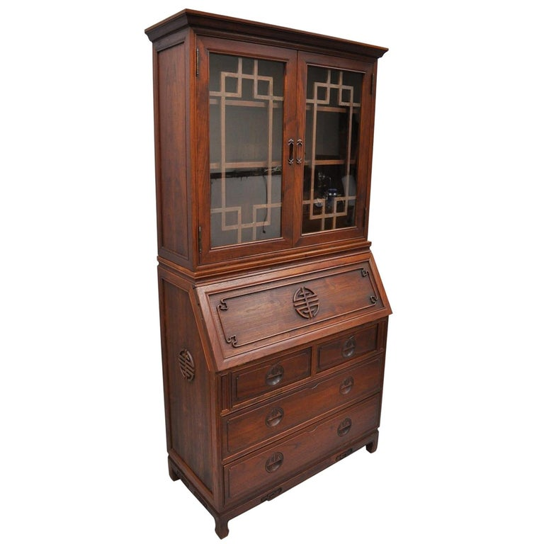 Chinese Hardwood Fall Front Secretary Desk Oriental Cabinet Bookcase Chest For