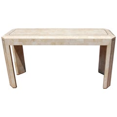 Tessellated Stone Parsons Console Table, Mid-Century Modern