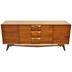 Mid-Century Modern Walnut Dresser Credenza Carlton House Oscar Friedman
