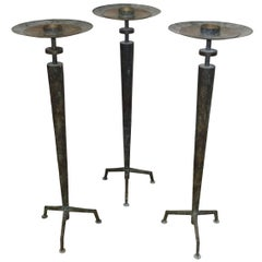 Set of Three Bronze Candlesticks, France, 1950s