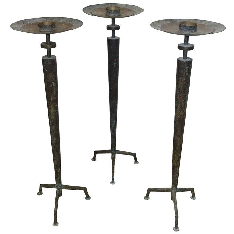 Set of Three Bronze Candlesticks, France, 1950s