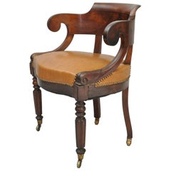 Antique English Empire Regency Mahogany Curved Caramel Leather Library Armchair