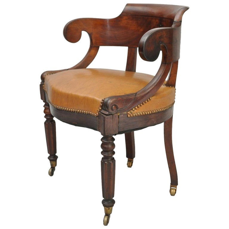 Antique English Empire Regency Mahogany Curved Caramel Leather Library  Armchair For Sale - Antique English Empire Regency Mahogany Curved Caramel Leather
