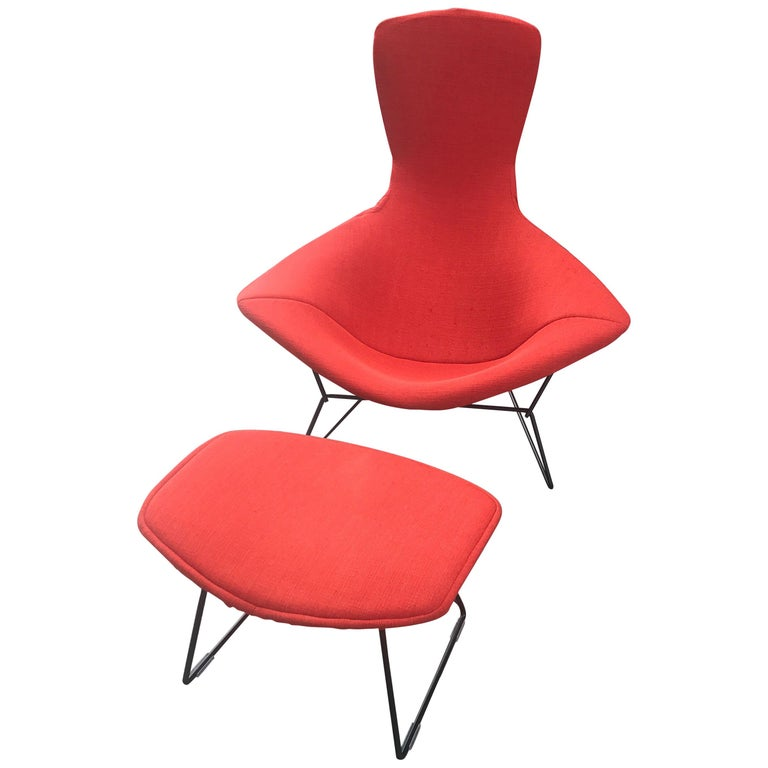 Vintage Harry Bertoia Bird Chair and Ottoman for Knoll