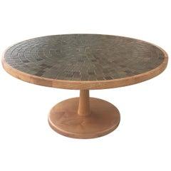 Jane and Gordon Martz Ceramic Tile and Walnut Round Coffee Table