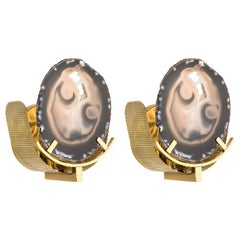 Unique Pair of Round Agate Stone and Brass Sconces by Graziela Dias