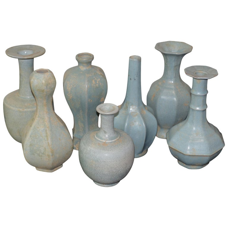 Collection Matte Glaze Pale Turquoise Vases, China, Contemporary For Sale