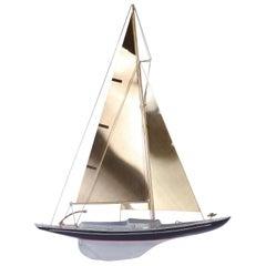 Brass Racing Sail Boat Wall Mount Sculpture