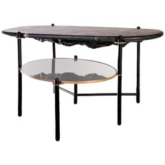 Rock Center Table, Contemporary Coffee Table with Marble Top
