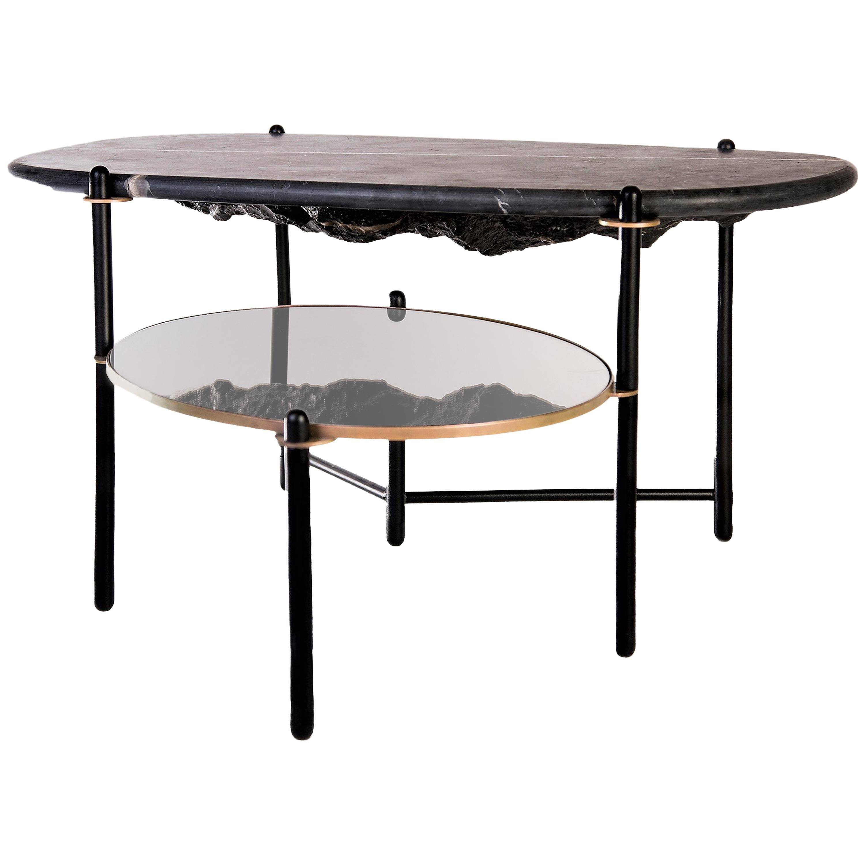 Rock Center Table, Contemporary Coffee Table With Marble Top For Sale