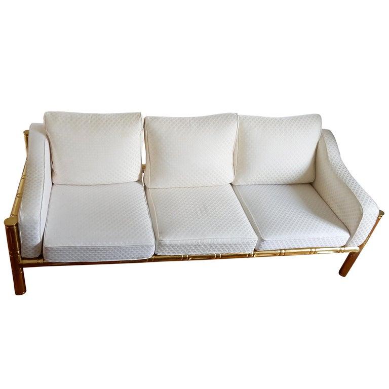1970 Sofa Three-Seat in the Style of Maison Jansen Brass Model Bamboo