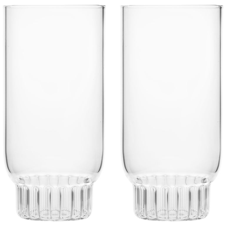 Set of Two Czech Clear Contemporary Rasori Large Highball Beer Glasses, in Stock For Sale