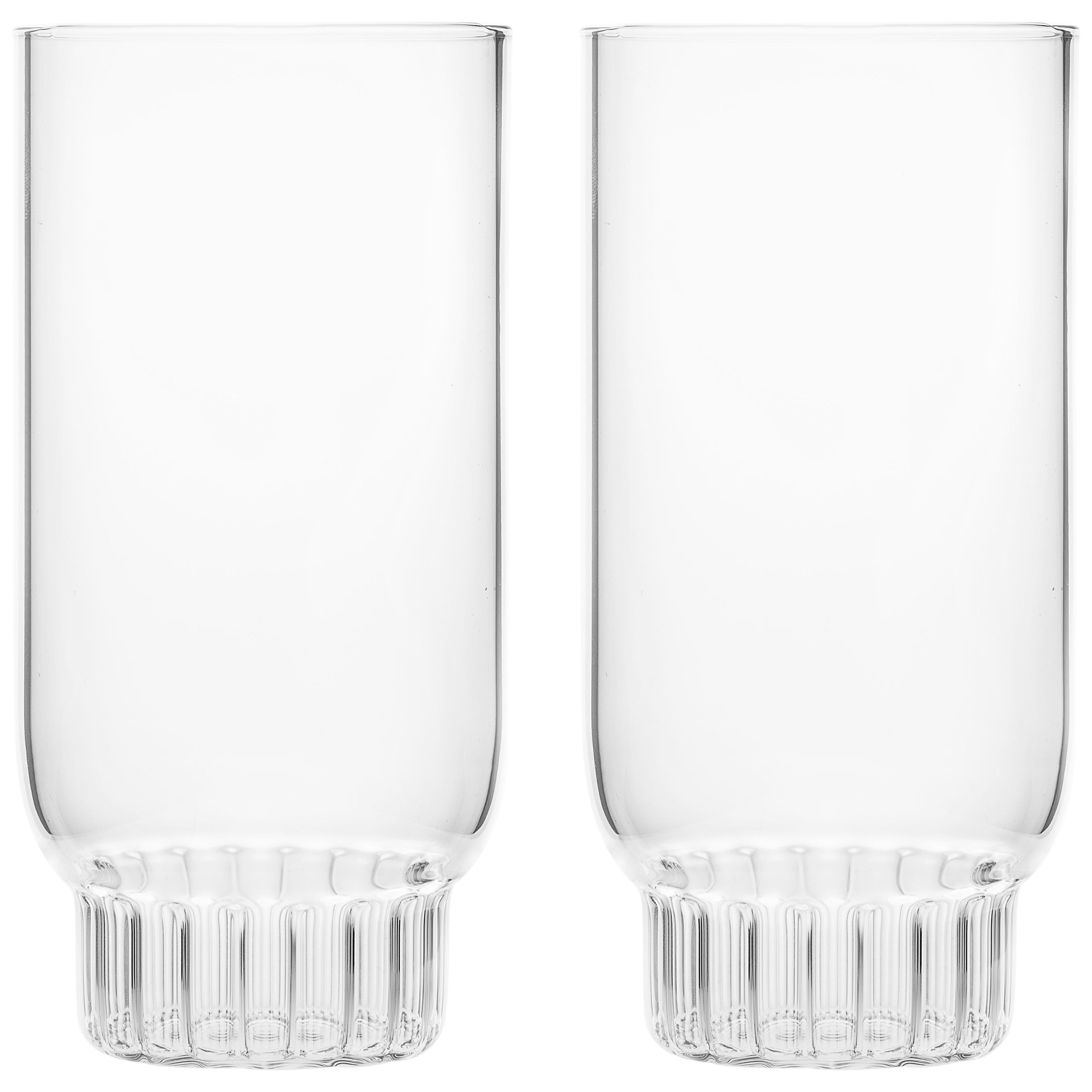 Set of Two Czech Clear Contemporary Rasori Large Highball Beer Glasses, in Stock