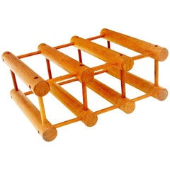 Danish Modern Teak Six Bottle Wine Rack or Holder by Nissen Langaa